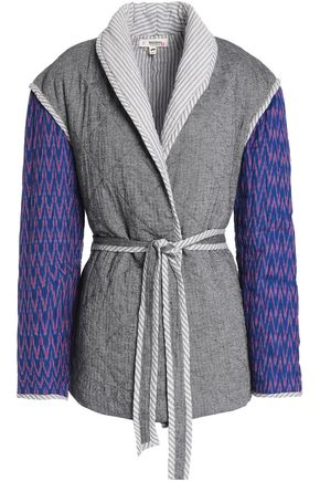 LEMLEM Herringbone-paneled printed quilted cotton-blend jacket