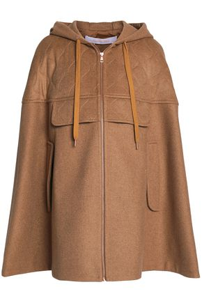 SEE BY CHLOÉ Quilted wool-blend hooded cape