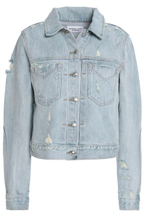 DEREK LAM 10 CROSBY Distressed faded denim jacket