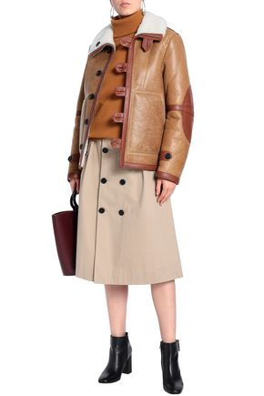 JOSEPH Reversible shearling-trimmed cracked-leather coat