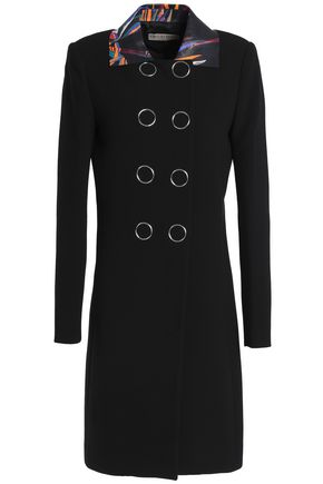 EMILIO PUCCI Double-breasted printed leather-trimmed wool-blend coat