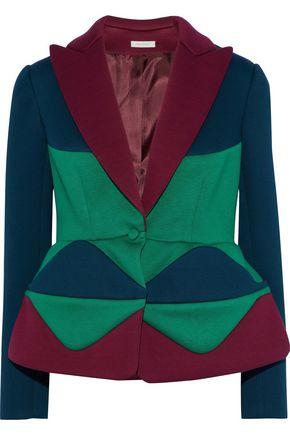 DELPOZO Color-block neoprene peplum blazer