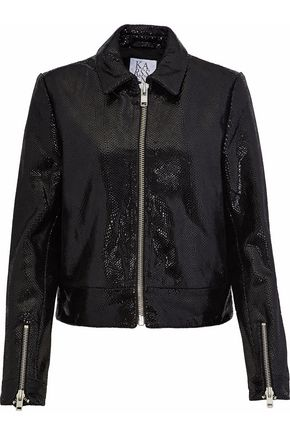 ZOE KARSSEN Coated snake-effect leather jacket
