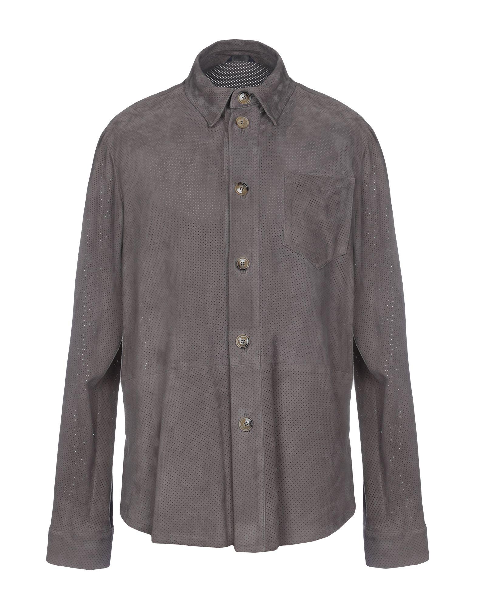 《送料無料》TOMBOLINI メンズ シャツ グレー 50 革 100%