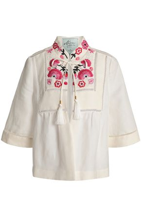 KATE SPADE New York Embroidered linen-blend jacket