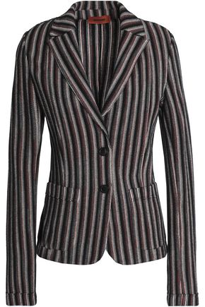 MISSONI Striped crochet-knit wool-blend blazer