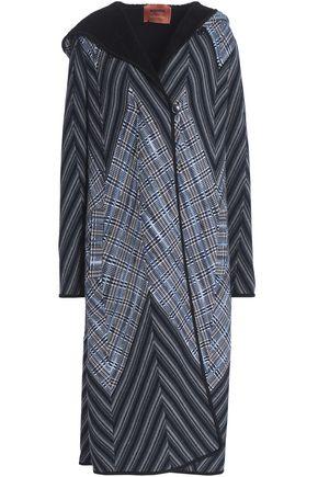 MISSONI Checked crochet-knit wool-blend hooded coat