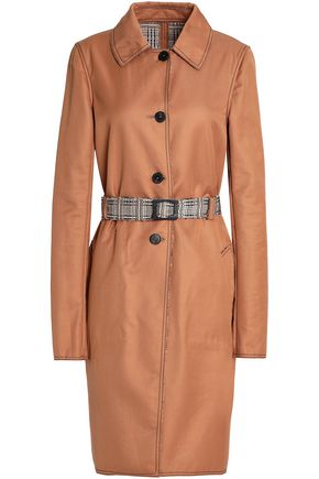 MISSONI Reversible crochet knit-trimmed cotton-gabardine trench coat