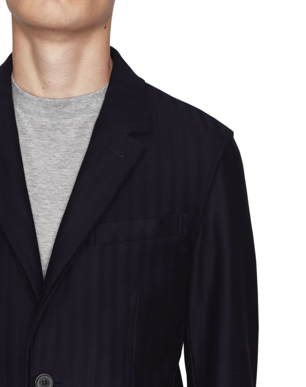 NAVY BLUE DECONSTRUCTED JACKET - Lanvin