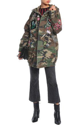 MARC JACOBS Appliquéd embellished printed denim hooded jacket