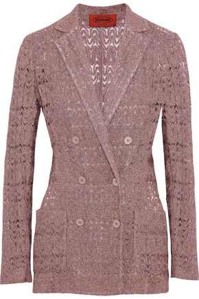 MISSONI Double-breasted metallic crochet-knit blazer