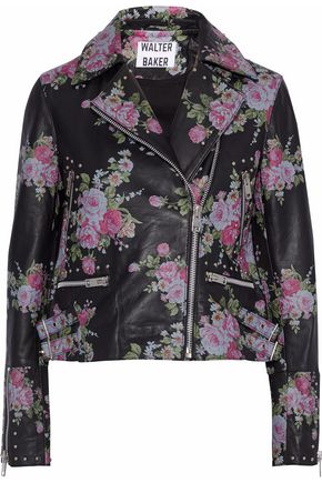 W118 by WALTER BAKER Sherron studded floral-print leather biker jacket