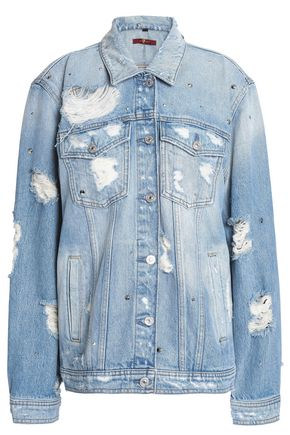 7 FOR ALL MANKIND Studded distressed denim jacket