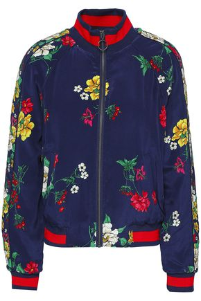 JOIE Floral-print silk crepe de chine bomber jacket