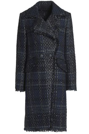 RAG & BONE Nova frayed double-breasted tweed coat