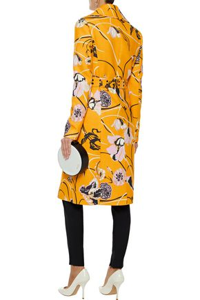 EMILIO PUCCI Belted floral-print wool and silk-blend crepe jacket