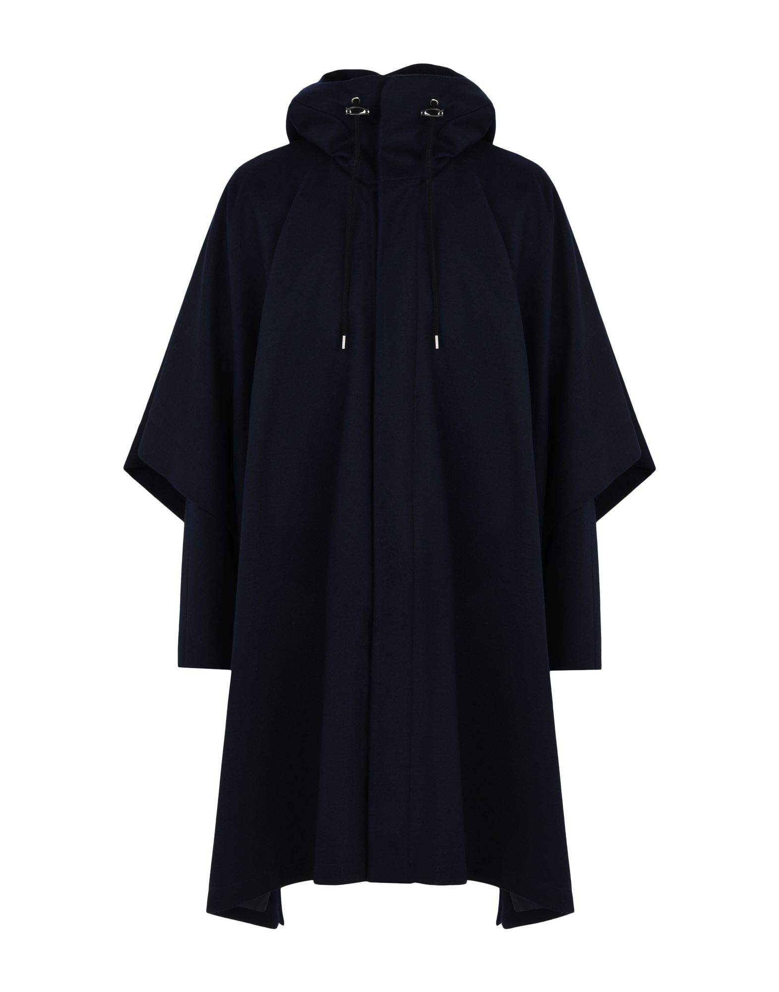 GIORGIO ARMANI Capes & ponchos. flannel, no appliqués, basic solid color, single-breasted, snap button fastening, hooded collar, multipockets, long sleeves, fully lined, cloak model, large sized. 77% Wool, 23% Polyester