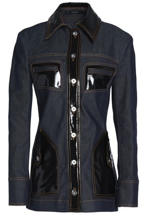 ELLERY Vinyl-trimmed denim jacket