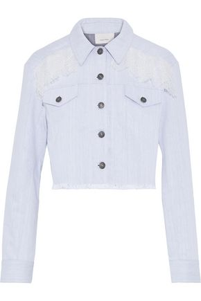 CINQ À SEPT Ismay cropped frayed lace-trimmed denim jacket