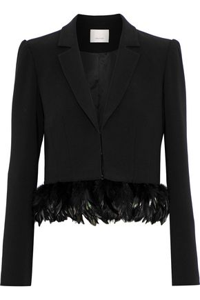 CINQ À SEPT Helen cropped feather-trimmed crepe blazer