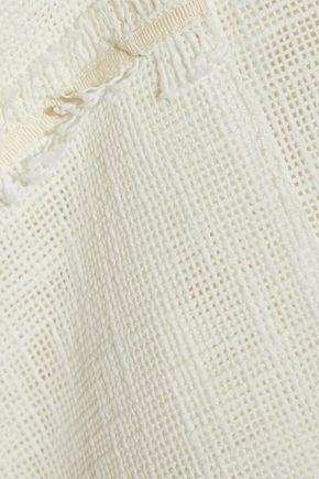 ROLAND MOURET Helwith cold-shoulder fringed cotton-blend vest