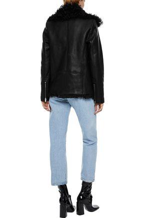 VEDA Denver shearling-lined leather biker jacket