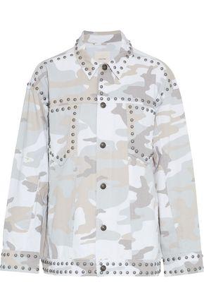 CINQ À SEPT Chiara studded printed denim jacket