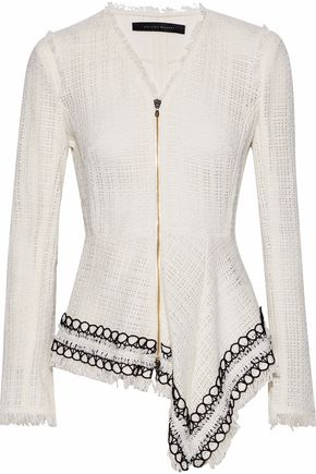 ROLAND MOURET Hayton fringed open-knit cotton jacket