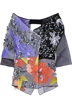ROLAND MOURET Denholme off-the-shoulder embellished silk-organza jacket