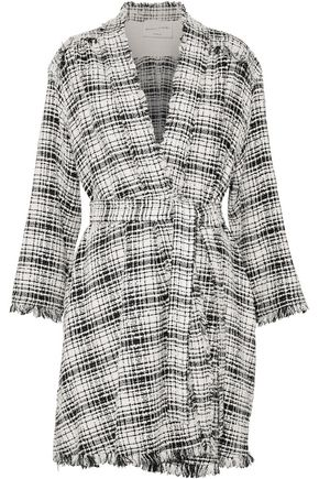 SONIA RYKIEL Fringe-trimmed cotton-blend bouclé-tweed coat