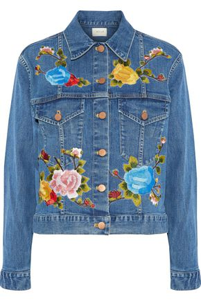 AO.LA by ALICE + OLIVIA Chloe embroidered denim jacket