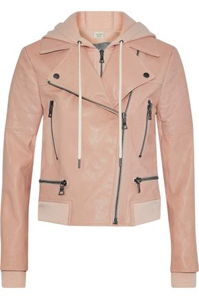 ALICE + OLIVIA JEANS Avrel leather hooded biker jacket