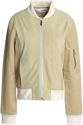 PACO RABANNE Suede and gabardine-paneled bomber jacket