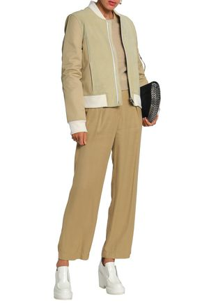PACO RABANNE Suede and gabardine-paneled bomber jacket