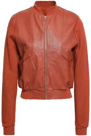 MAJESTIC FILATURES Leather-paneled cotton bomber jacket