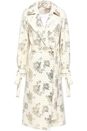 EMILIA WICKSTEAD Double-breasted metallic jacquard coat