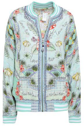 CAMILLA Embellished printed silk bomber jacket