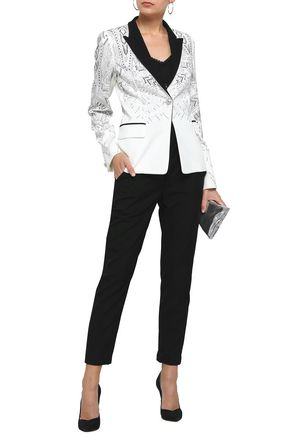 JUST CAVALLI Crystal-embellished jersey blazer
