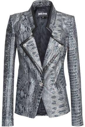 JUST CAVALLI Printed metallic jacquard blazer