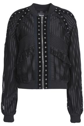 JUST CAVALLI Ruffle-trimmed embellished tulle jacket