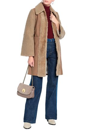bbf6c8915 SEE BY CHLOÉ Shearling-paneled wool-blend coat