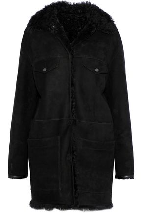 METEO by YVES SALOMON Shearling and leather-trimmed suede jacket