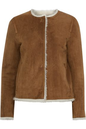 YVES SALOMON Reversible leather-trimmed shearling and suede jacket