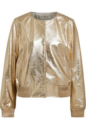 METEO by YVES SALOMON Metallic leather bomber jacket