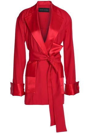 MICHAEL LO SORDO Belted satin-trimmed wool-twill coat