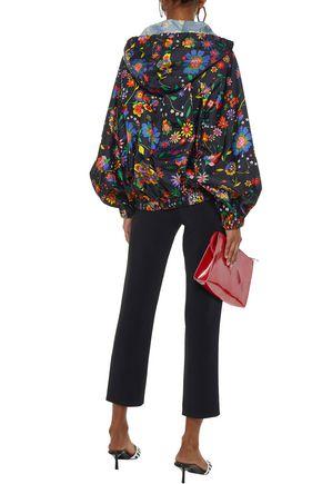 TIBI Floral-print shell hooded jacket