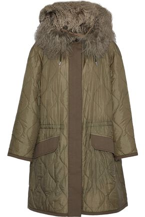 ARMY by YVES SALOMON Shearling-trimmed quilted shell hooded jacket