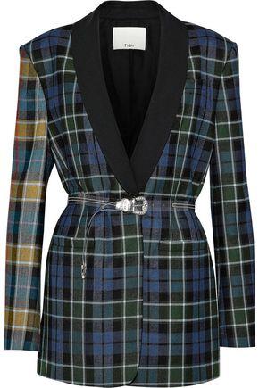 TIBI Belted satin-trimmed checked wool-twill blazer