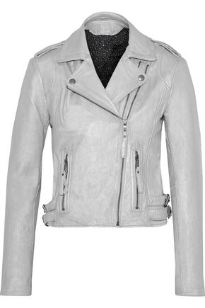 JOIE Leolani metallic leather biker jacket