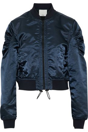 TIBI Ruched shell bomber jacket